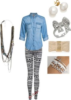 """""""Denim Shirt Outfit"""" by ks-puppygurl ❤ liked on Polyvore"""