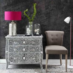 Louise Floral Chest of Drawers - Chest Of Drawers - Furniture