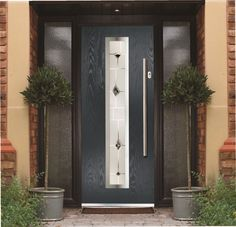 Hormann TPS 700 steel front door with long bar handle and chrome ...