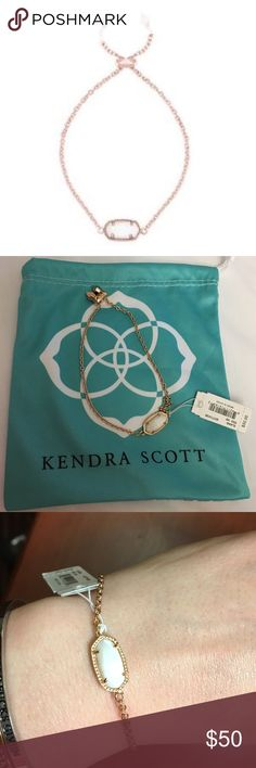 NWT Kendra Scott Elaina bracelet Absolutely stunning rose gold adjustable bracelet with white stone. When the light catches the stone it's breathtaking. Dustbag included! Kendra Scott Jewelry Bracelets