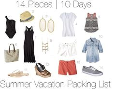 Fourteen piece, ten day summer vacation packing list with ten outfits and printable packing list! http://getyourprettyon.com/ten-day-summer-vacation-packing-list/