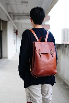 Hand Stitched Large Leather Backpack