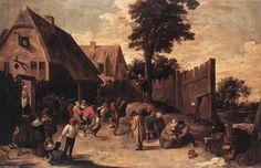 Peasants Dancing outside an Inn - (David The Younger Teniers)