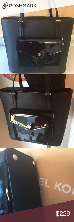 🆕 🎉HP🎉MICHAEL KORS NEW LARGE BUCKET TOTE 💯AUTH 🎉HOST PICK🎉 MICHAEL KORS NEW WITH TAGS NEVER USED LARGE BUCKET TOTE SHOULDER BAG 100% AUTHENTIC. SO STUNNING AND STYLISH .LOVELY BLACK PATENT FRONT POCKET TO THE FRONT POCKET TO GIVE THIS AMAZING BAG EXTRA ZING. THREE LARGE INTERIOR COMPARTMENTS. ONE OF WHICH IS ZIP. ALSO IT HAS METAL FEET ON THE BOTTOM TO KEEP YOUR PURSE CLEAN. THE BAG MEASURES 12 INCHES WIDE BY 11 INCHES TALL AND 6 INCHES DEEP. VERY ROOMY BAG. THE SHOULDER STRAPS HAVE AN…