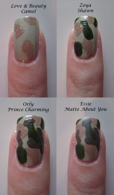The Polished Medic: How To: Camouflage Nails Tutorial Military Nails, Army Nails, Hot Nails, Hair And Nails, Camouflage Nails, Diy Camo Nails, Nails Decoradas, Nailart, Cute Nail Designs