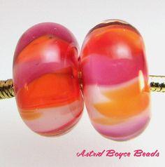 Glass Lampwork Bead Set - Totally Eighties - by AstridBoyceBeads, $5.00