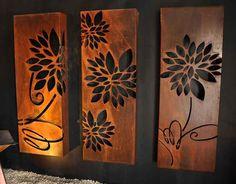 Flower triple set by PO Box Designs. Visit our website for more info - - Laser Cut Panels, Metal Panels, Metal Wall Art, Wood Art, Balustrade Balcon, Cheap Room Dividers, Bubble Wall, Balkon Design, Lampe Decoration