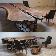 The large dining table made of wood and glass. Oval table in the style of River made from slabs of wood Wooden Dining Tables, Wood Table, Table And Chairs, Raw Wood, Wood Slab, Log Furniture, Furniture Design, System Furniture, Shaker Furniture