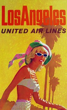Vintage European Posters: United Airlines Los Angeles poster, 1960's.