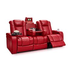 Futura Leather And Vinyl Power Reclining Sofa With Headrest In Stone Sleeper Mattress Houston 31 Best Home Theater Seating Images Seatcraft Anthem Multimedia Recline Drop Down Table Powered Headrests Storage Cupholders Red