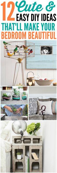 12 Cute & Easy DIY ideas  #bedroom #bedroommakeover #bedroomdecor #diybedroomideas #makeover
