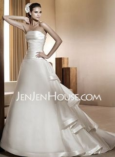 A-Line/Princess Strapless Chapel Train Satin Wedding Dresses With Ruffle (002012025)