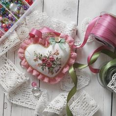 From time to time I love playing with the ribbons and growing silk roses on a fabric. Иногда я играю с лентами и… Ribbon Embroidery, Embroidery Designs, Silk Roses, Anastasia, Ribbons, Magic, Pure Products, My Love, Instagram