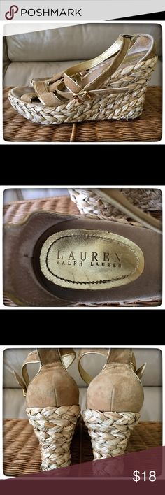 Ralph Lauren Summer Wedge Espadrilles Ralph Lauren stylish summer strappy wedge espadrilles in size 7 1/2 with gold accents. Wear on soles and insoles. Ralph Lauren Shoes Wedges