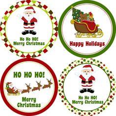 Navidad Santa pegatinas - Argyle y estrella rojo y verde Navidad clásico Santa sobres sello etiquetas - 20 etiquetas redondas felices vacaciones