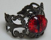 Red Fiery Dragon Eye Ring with Black Adjustable Ring Band #EasyPin