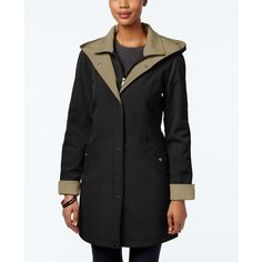 Jones New York Water-Resistant Hooded Colorblocked Raincoat ($100) ❤ liked on Polyvore featuring outerwear, coats, jones new york coats, mac coat, water resistant coat, colorblock coat and jones new york