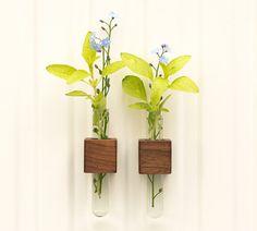Magnetic test tube flower bud vase walnut wood