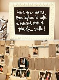 Hang the placecards on layers of strings with clothing pins. On the table below the strings, provide Polaroid cameras. Have the guests take pictures of themselves, and replace their placecard with the picture.