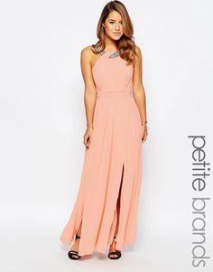 Image 1 ofLittle Mistress Petite Maxi Dress With Embellished Strap