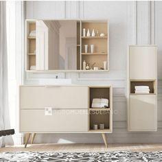 Mueble de 120x46cm de 2 cajones color panna mate- caja chapa roble + lavabo sobreencimera Clio + Camerino Vintass de 100cm color panna mate/ estantes chapa roble + 4 Patas Vintass roble