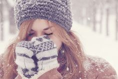 The feeling of fragile snowflakes in your hair, on your gloves, on your hat. Breathing in that cold, icy air. #winter