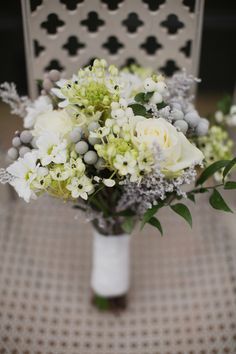 White, grey and green bouquet