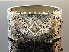 c1880, ANTIQUE 19thC VICTORIAN SOLID SILVER GOLD WIDE CUFF HINGED BUCKLE BANGLE