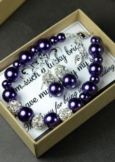 Bridesmaid jewelry Wedding bridal jewelry ,bridesmaid gifts ,Purple Earrings Bracelet SET . Monogram bracelet , leaf  initial charm, purple