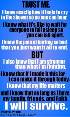 I don't Ever want pity, just understanding. :) Life with, PTSD, Fibromyalgia/ Chronic Illness, Seizures, Brain injury survivor, Rape survivor, Domestic Abuse Survivor, Endometriosis, Adrenal, stomach & Kidney cysts, late term miscarriage etc etc. The list goes on and I although I do not understand Why all this has & is happening to me. I Refuse to give up! It's Very hard some days & and most people have No clue what all I'm dealing with, but Im going to try to keep Fighting! I'm still here…