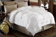 Pacific Coast® SuperFluff Deluxe™ Comforter: 		  500 Thread Count with White Goose Down. Patented SuperFluff™ design creates an irresistibly cozy and exceptionally fluffy comforter.