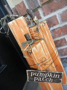 """Go to Home Depot and buy a 4x4 (it will be 8 feet long)  It will be enough for two pumpkin sets (so 6 pumpkins total)    If you don't have your own saw- then have the nice people at Home Depot   cut the 4x4 at these lengths:  13 1/2""""  15 1/2""""   and  18 1/2""""  That will be exactly half a 4x4.    Hope this helps!  Also- the stems are just tree branches cut 2-3"""" long"""