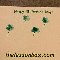 The Lesson Box. Thumbprint Shamrock- Art.