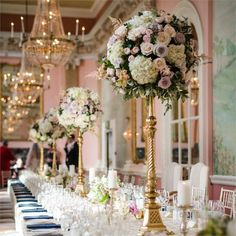 <p>Matthias and Maria celebrated their wedding with a glamorous wedding reception at the seriously elegant Danesfield House.</p> <p>The couple looked at close to 15 venues before settling on the luxury hotel. Maria and Matthias decided on a wedding colour scheme of golds, champagnes, pinks and slate blue.</p> <p>The wedding menu was seriously elaborate
