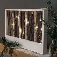 Wooden Battery Light Up Nordic Rectangle Frame with Twigs, Warm White LEDs
