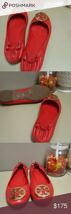 Tory Burch Reva Flats NWOT.  New practically as you can see. See pics for any minor wear. Excellent condition. No stains, worn twice. Bright red color. Gold TB Logo No box included. Offers welcome.  No lowballing. Will not repond. Tory Burch Shoes Flats & Loafers