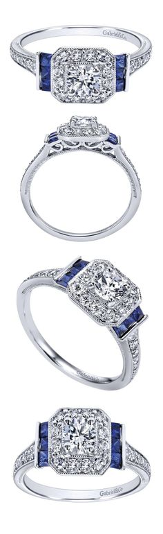 Sapphire accent Diamond engagement ring from Gabriel & Co | matching wedding band available