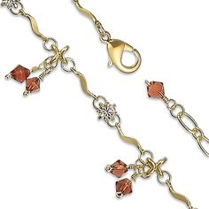 14K Yellow Gold Plated Brown Bead and Cubic Zirconia Anklet