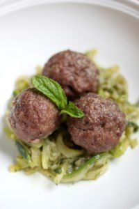 """Mint makes a perfect complement for the savory flavors of lamb in any dish. This """"pasta"""" recipe celebrates this classic pairing by emphasizing the flavor of mint in the pesto."""