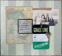 "multi-media collage using original vintage materials in an artistic rendering.  Collage size is 11- 1/4"" x 10-1/4"" x 3/4"" and is composed on a piece of pine board.  Original vintage photograph, vintage map of Italy, original steamer ship boarding card, old metal room key, snippet from an old book along with a inspirational quote under a vintage glass slide combine to tell a compelling story.  Entire image has been sealed with gel medium and wax for a suble sheen"