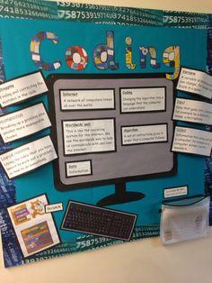 Coding computer display bulletin board