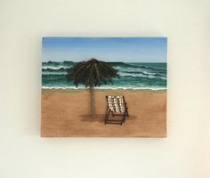 Acrylic Painting, Beach Artwork with Seashells and Sand, Art Wall Picture of Deckchair & Parasol in Seashell Mosaic, Mosaic Art, Art Collage Beach Artwork, Beach Wall Art, 3d Wall Art, Art 3d, California Art, Parasol, Beach House Decor, Mosaic Art, Picture Wall