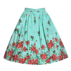'Adalene' Mint Rose Print Swing Skirt ($20) ❤ liked on Polyvore featuring skirts, bottoms, turquoise, print skirt, flippy skirt, pattern circle skirt, patterned skater skirt and blue circle skirt