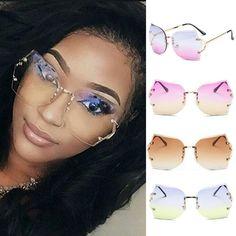 Women Oversized Clear Lens Rimless Sunglasses Gold Metal Frame Vintage Eyewear #Unbranded #Square
