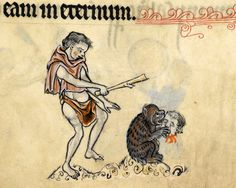 hey bear! stop eating that!  'The Rutland Psalter', England ca. 1260. British Library, Add 62925, fol. 51r