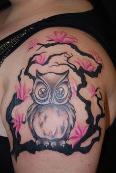 Cherry Blossom and Owl on Shoulder - Cute Cherry Blossom Tattoo Design Ideas, http://hative.com/cute-cherry-blossom-tattoo-design-ideas/,