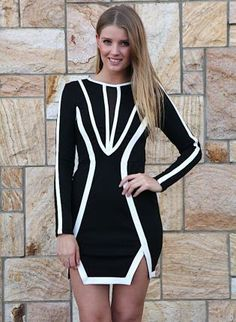 8bbb201435f Black Long Sleeve Bodycon Dress with White Piping Detail, Dress, black long  sleeve white