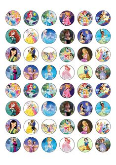 48 Mixed Princess Edible Wafer Paper Cake Toppers Decorations - Frozen Disney Princess Cartoons, Anna Disney, Disney Princess Drawings, Disney Art, Disney Princess Cupcakes, Printable Stickers, Cute Stickers, Planner Stickers, Wallpaper Iphone Disney