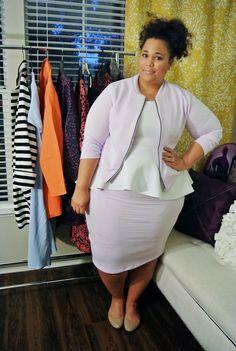 Fashion World: white sweater, light mauve coat and light mauve skirt