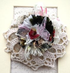 This lovely crochet lace Fascinator was sold after my exhibition in Havant Library.